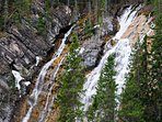 Forest waterfall in Grassi Lakes, Canmore
