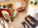 view from upstairs, vaulted ceilings, open floor plan Orlando vacation rental home