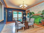 Hand painted MURAL crown molding separate exit to fenced back yard