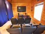 """Theater Room: 58"""" TV, 5.1 Surround Sound, Free Netflix, ESPN College Extra football package."""