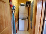 Washer/Dryer unit, High Chair, Pack N Play, Gate for Stairs, Ironing Board, and Iron.
