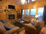 Den: Leather Sleeper Sofa, Love Seat, and Chair. Spectacular 25 mile view of the Smoky Mountains.