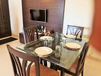 Glass Top Teakwood  4 seater dining set