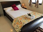 AC Bedroom with clean Bedsheets,Bedside Lamp; Quilt etc