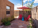 Coyote fencing provides privacy as well as large off-street parking area