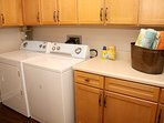 Laundry Room with full size washer and dryer.