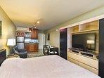 King bed Twin sofabed Split AC 2 burner stove HDTV