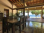 Inside and verandah dining, sitting areas have a spectacular view of the sea
