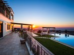 Our villa looks stunning at sunset time