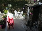 Lakeland Cottage's own private courtyard patio garden, Windermere, the Lake District National Park.