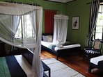Suriya room showing 2 double beds and 1 single bed