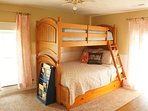 """The """"Moon"""" room has a full/twin bunkbed, with a twin trundle beneath."""