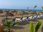 And relax, sun beds for hire on the beach at La Antigua beach bar 10 minutes walk from the apartment