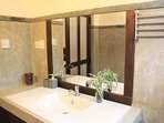 Our bathroom vanity and with cupboards undrrneath guves you maximum storage for toiletories