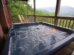 5-6 person Hot Tub on lower level deck. Spectacular view overlooking Wears Valley and the Smokies.