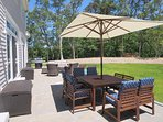 Enjoy the large table with umbrella for outdoor dining! 5 White Cedar Lane -Orleans- Cape Cod New England Vacation...