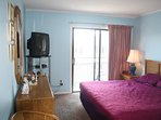 Master bedroom  with King bed, full bath, cable TV, DVD and balcony with spectacular ocean view!