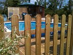 Swimming pool security fence , gated with your own key.
