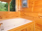 Jacuzzi tub to ease the sore muscles from the Smoky Mountain hiking.