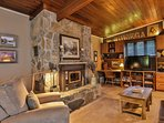 All natural stone fireplace keeps you cozy in cooler weather