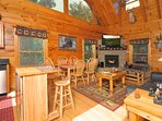 A true log cabin experience with all the comforts of home.