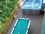 Relax in the Outdoor Hot Tub & shoot some Pool with the mountains and forest all around you