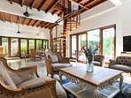 Pool side: beautiful indoor dining/ living room/ 58m2/ Marble floor