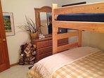 Bear Room has twin bunk bed over queen bed