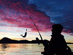 Catching fish by sunset!