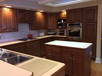 custom kitchen with new oven, island with great lighting and cabinets beneath