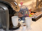 You get Keurig 2.0 Coffee service with complimentary starter coffee pods & filtered brewing water.