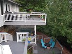 The top deck is off the great room Hot Tub below accessible by private stairs