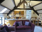 The original barn beams are a stunning feature