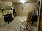 Basement Recreation Room with Fireplace, Sofa Queen Sleeper, TV, DVD, XBOX 360 Shared Full Bathroom