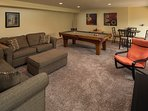Lower level rec room is amazing.  Pool table, sleeper sofa, game table and flat screen tv