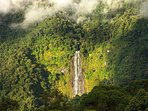 View of the waterfall from the property. Diamante Falls is the tallest waterfall in Costa Rica.