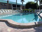 The sparkling community pool is refreshing in the summer and warm in the winter.