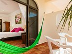 Each room has a balcony with a hammock for you to relax!