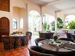Enjoy breakfast on the downstairs terrace.