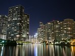 Brickell at night from Key Brickell bridge