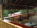 Balcony Palapa overlooks the pool and cove...