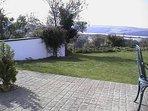 The rear garden and patio area