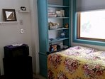 Microwave, mini fridge, window seat