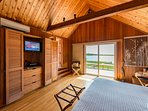 Master Bedroom opens to Expansive Deck, Outdoor Enclosed Shower just around corner