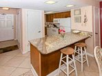 Granite countertops and fully stocked cabinets help to create that home away from home feeling!