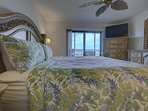 King size bed, 50' television, the sliding glass doors lead out onto the balcony