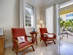 Located on the second floor with the balcony overlooking the pool/garden.