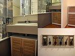 Salle de bain avec baignoire, douche et WC séparés