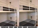 Chambre séparées avec lit superposé pour deux personnes
