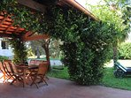 Villa Magnolia - Patio by the pool with garden furniture , table and chairs for 8